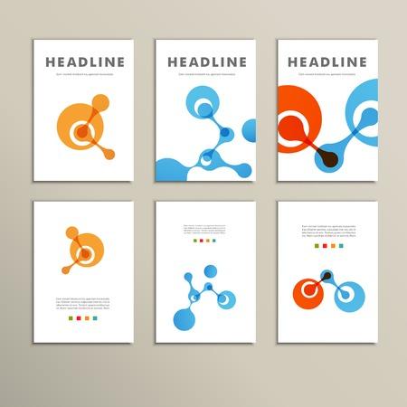 Zes vector patroon met abstracte cijfers brochures