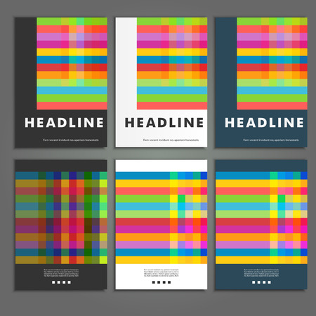 rendition: Set six book covers background of colored squares Illustration