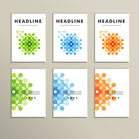 science icons: Set of six covers with abstract patterns