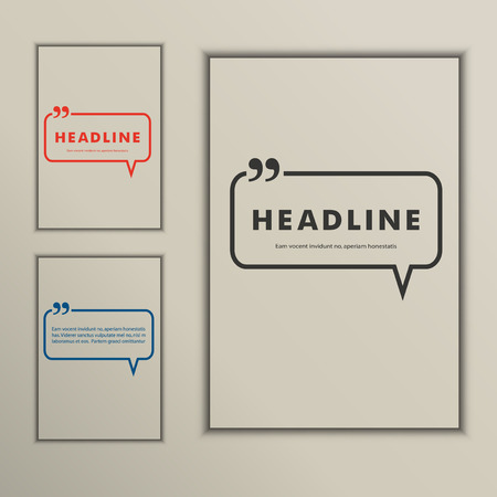 Set banners with speech bubbles on a simple cover