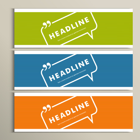 background cover: Set banners with speech bubbles on a simple banner