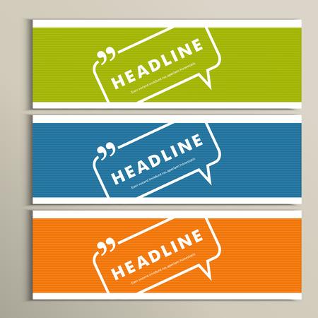 fond de texte: Set bannières avec les bulles de dialogue sur une simple bannière