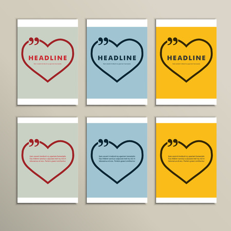 hinges: six beautiful hearts on a colorful background. Illustration
