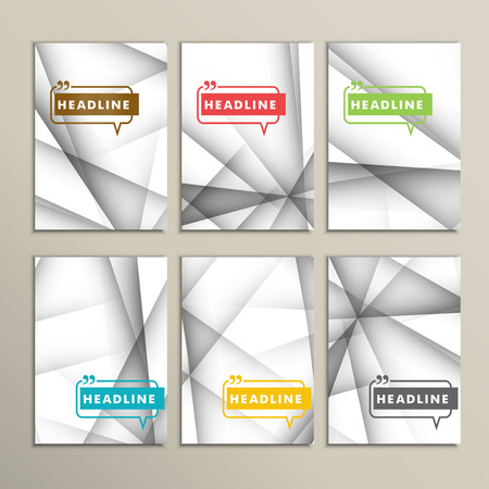 Vector set of brochures. Abstract line background.