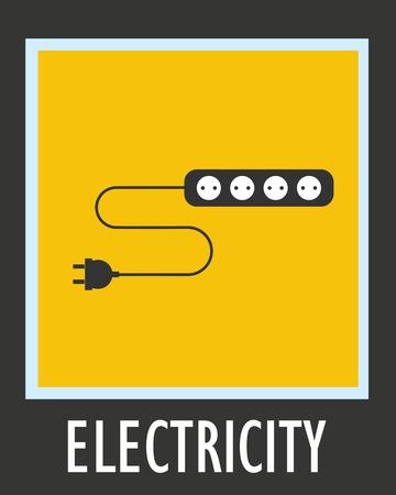 plug socket: Wire, socket and electric plug vector design.
