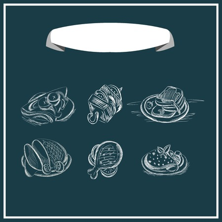 range fruit: Meat menu chalked on a blackboard. Vector design. Illustration