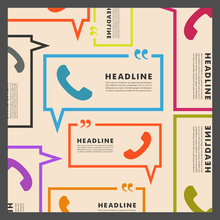 phone calls: Vector background of handsets and speech bubbles.