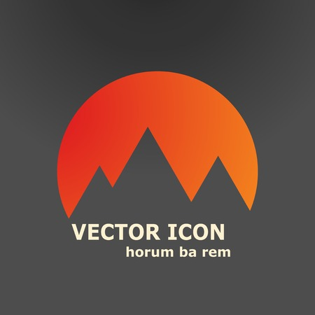 mountain road: Vector mountains and sun icon. Illustration