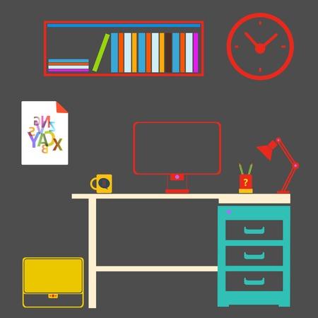 modern interior: Modern interior room to work and study.