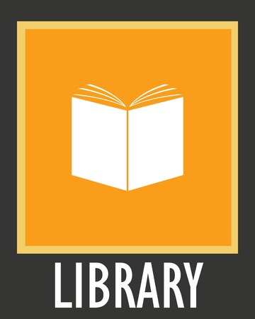 library book: Vector simple icon library. Opened white book.