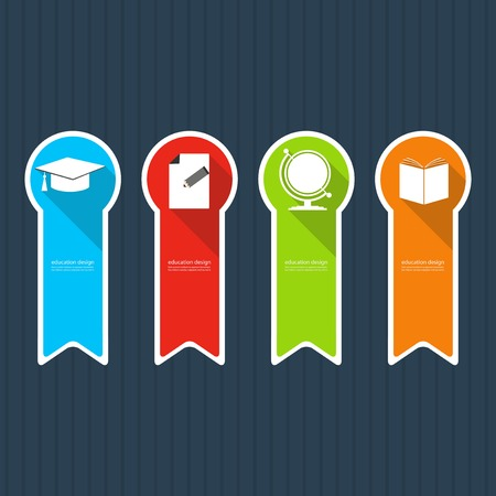 four classes: Four colored icons depicting items for education.