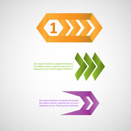 tape marker: Three vector colorful pointers, eps. Illustration