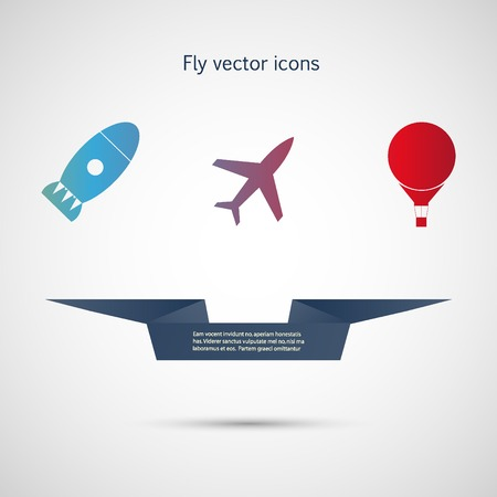 missiles: Flat vector icons aircraft, missiles and balloon.