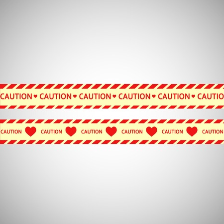 warning tape: Simple vector warning tape love content on a gray.