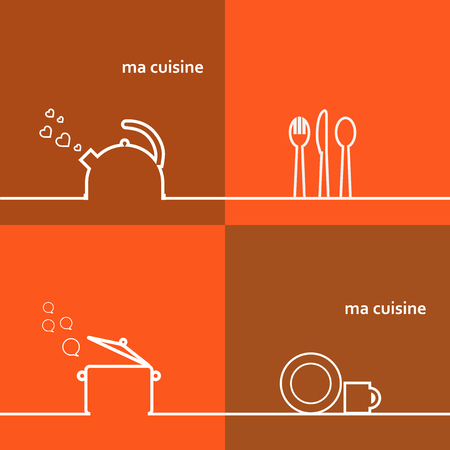 cookware: Juego de utensilios de caldera, olla, cuchara, tenedor, cuchillo, platillo.