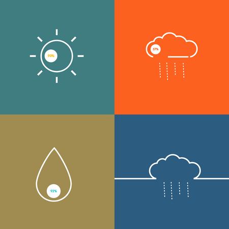 indicate: Set icons indicate weather clear, cloudy, rain, snow.