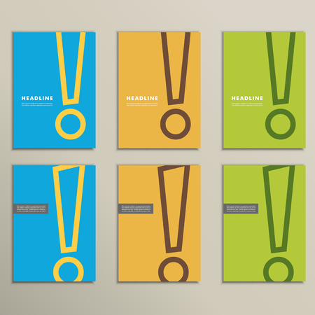 interjection: Set of patterns brochures with an exclamation mark.