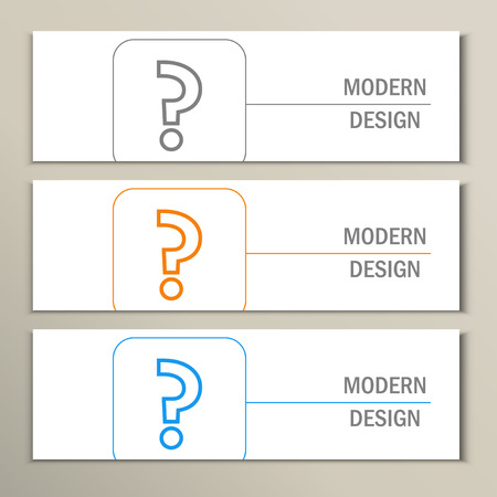 enigma: Set of 3 banners with question mark.