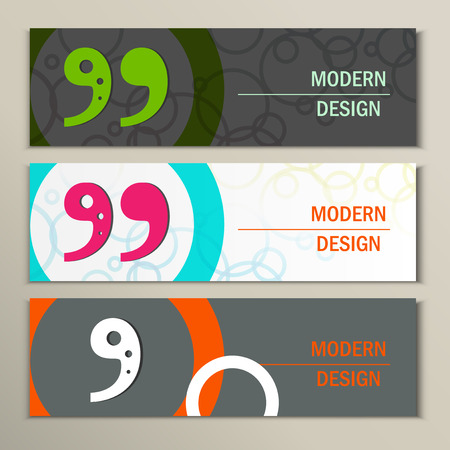 cite: Set of 3 banners with quote text bubble.