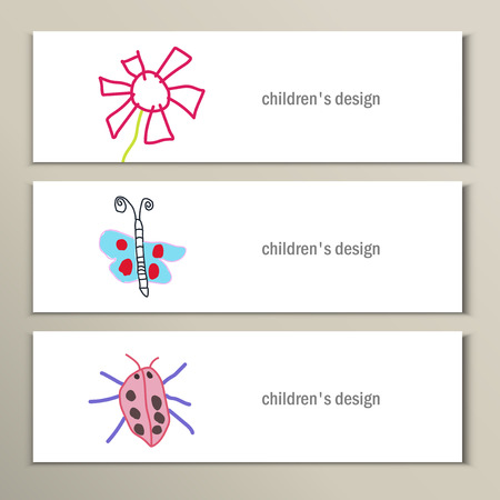 Flower, butterfly, ladybug. Beautiful vector children drawings.