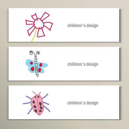 butterfly flower: Flower, butterfly, ladybug. Beautiful vector children drawings.