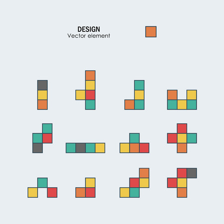 old pc: Game tetris square template. Brick game pieces.