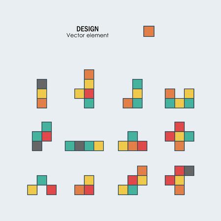 Game tetris square template. Brick game pieces.
