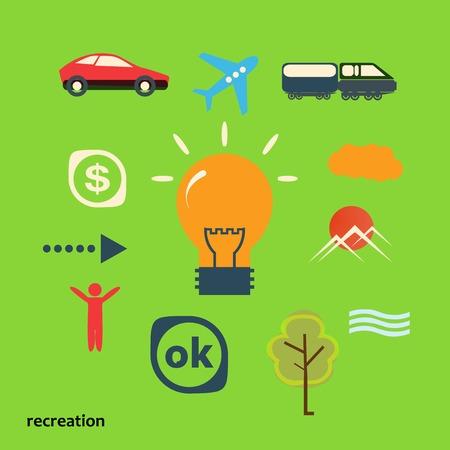 illustrating: Set icons illustrating journey from idea. Illustration