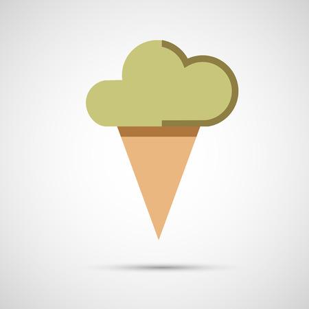 chock: Icon ice cream isolated on white background. Illustration