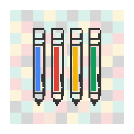 clericalist: Vector pixel icon pen on a square background.