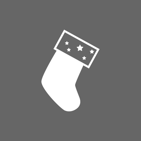 hosiery: Icon Christmas sock for holiday season. Illustration