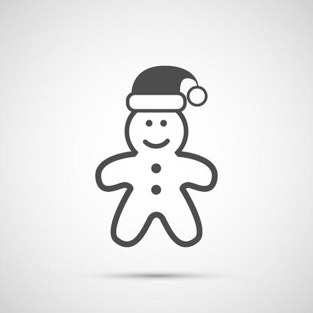 whip cream: Icon Christmas gingerbread man for holiday season.