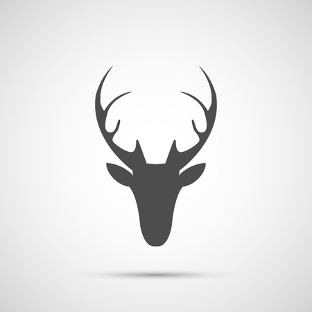 Vector christmas deer head icon.