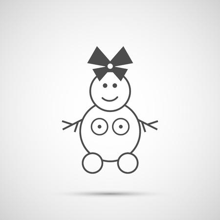 nude outdoors: Icon Christmas snow woman for holiday season. Illustration