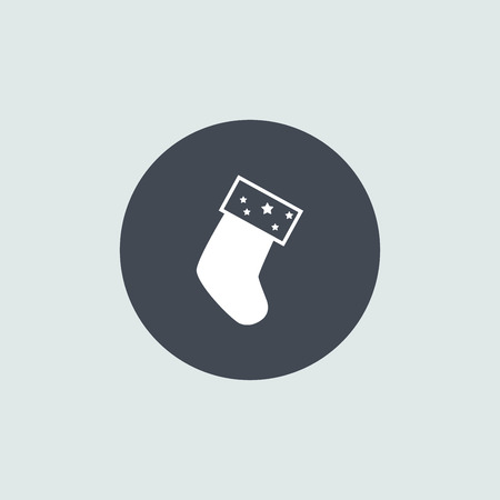 sock: Icon Christmas sock for holiday season. Illustration