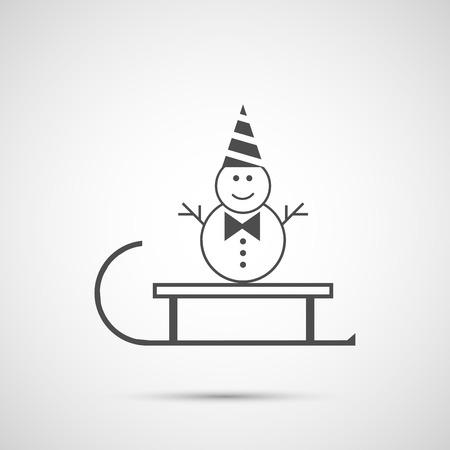 bonhomme de neige: Vecteur tra�neau et bonhomme de neige ic�ne. Illustration