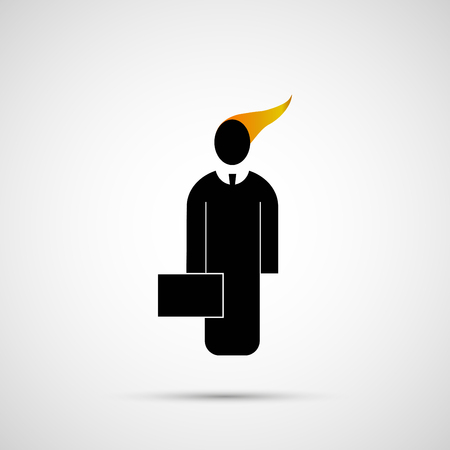 burning money: People vector design. Icon man with briefcase.