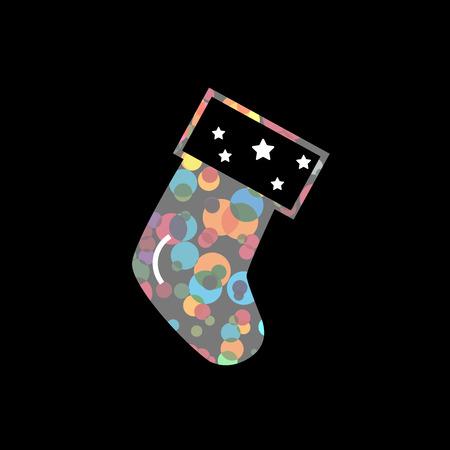 christmas sock: Icon Christmas sock for holiday season. Illustration
