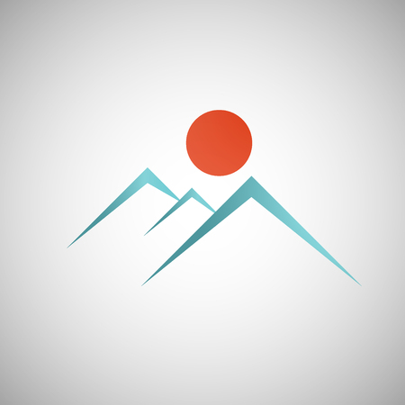 elevate: Abstract mountain with the sun on background.