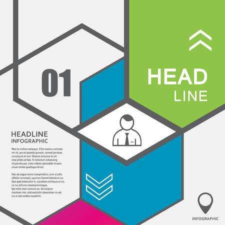 Vector line hexagon infographic. Template for diagram and presentation. Illustration