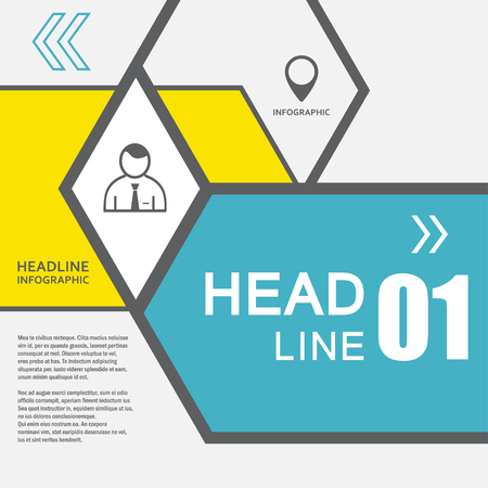 Vector line hexagon infographic. Template for diagram and presentation. Business concept and abstract design.