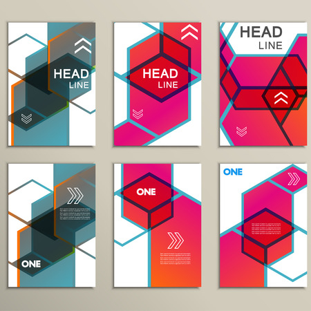 Vector hexagon infographics set. 6 template for diagram and presentation. Illustration