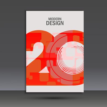 Vectorontwerp 20 jaar jubileum. Cover sjabloon.