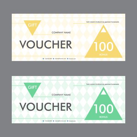 restaurant bill: Template design gift voucher with triangular elements. Beautiful design certificate.