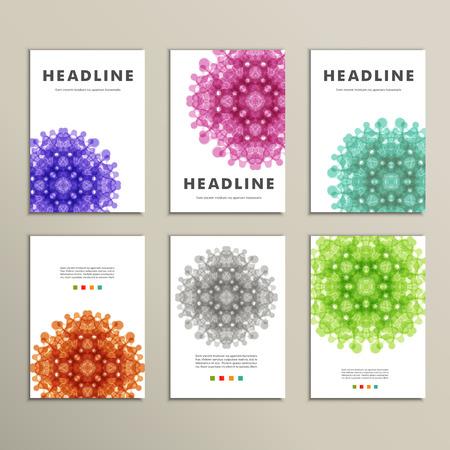 Conjunto de patrones con formas de colores abstractos.