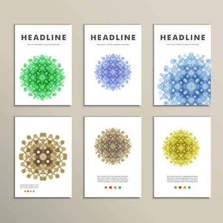 page layout: Set of patterns with abstract colored shapes.