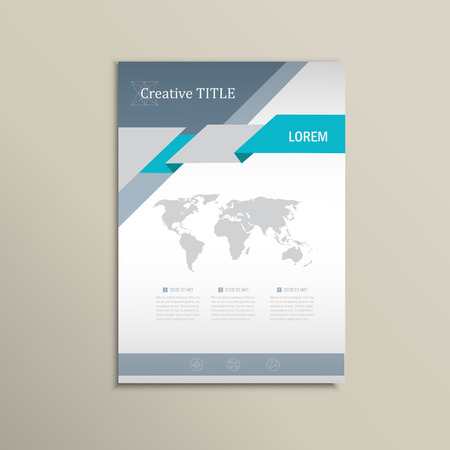 home page: Vector brochure template. A4 format layout. Home page and more. Infographics, headers, stylish appearance.