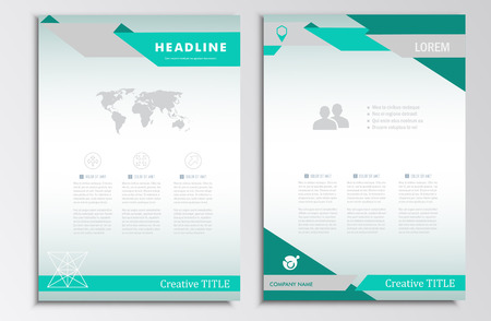 Vector brochure sjabloon. A4 layout. Startpagina en nog veel meer. Infographics, headers, stijlvolle uitstraling. Stock Illustratie