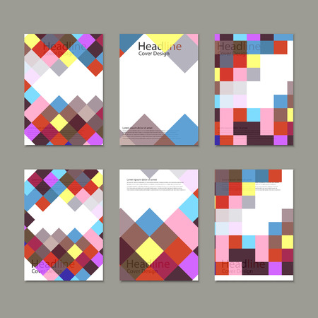 rectangles: Brochure template design with squares and rectangles.