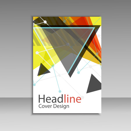 advert: Brochure design triangle template vector.